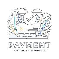 aceito pagamento cartão de crédito ilustração estoque vetor isolada em um fundo branco. o conceito de uma transação de pagamento bancária bem-sucedida. a parte da frente do cartão com uma marca de seleção em um círculo.