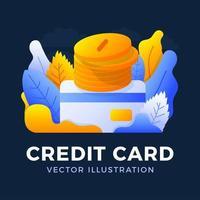 pilha de moedas com uma ilustração das ações do vetor do cartão de crédito isolada em um fundo escuro. o conceito de adicionar dinheiro a uma conta bancária. o verso do cartão com uma pilha de moedas.