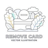 remova a ilustração do estoque do vetor do cartão de crédito isolada em um fundo branco. conceito de fechamento de conta bancária. rescisão do contrato. removendo um cartão de crédito do banco.