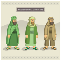 Personagens masculinos do Oriente Médio vetor