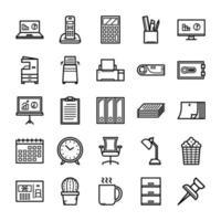 conjunto de ícones de equipamentos de escritório vetor