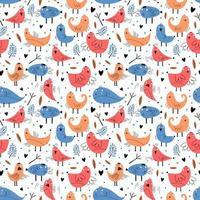 pássaro sem costura padrão com personagem engraçada. ilustração vetorial pronta para impressão têxtil de moda. mão na moda desenhada para roupas de bebê e crianças. cores azuis e laranja. vetor