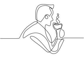 desenho de uma linha contínua, vetor de pessoas bebem café, esboço simples de um homem bebendo cappuccino quente na caneca. design minimalismo com simplicidade desenhado à mão isolado no fundo branco.