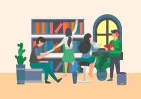 elementos planos de alunos que estão estudando na biblioteca. estudante se reunindo em elementos planos da biblioteca. volta ao tema da escola. vetor