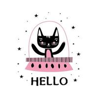 gato fofo personagem animais astronautas gato no espaço sideral, foguetes, ufo, planetas, constelações, estrelas. gato como um cosmonauta, traje espacial, design futurista engraçado para crianças. ilustração vetorial vetor