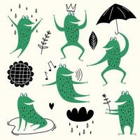 sapos bonitos dos desenhos animados. vetor definido animal de desenho de sapo anfíbio, ilustração de coleção de sapo verde. rãs, chuva, flor e céu. animais adoráveis em estilo escandinavo. conceito para crianças imprimir
