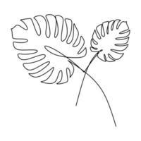 uma folha de monstera de vetor de desenho de linha. arte mínima deixa isoladas no fundo branco. perfeito para decoração, como pôsteres, arte de parede, impressão de bolsa ou camiseta, adesivo, capa para celular