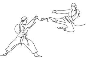 um único desenho de linha contínua de treinamento de taekwondo e caratê. dois homens sêniors praticam taekwondo atacando usando as pernas e golpes de mão desenhados à mão isolados no fundo branco vetor