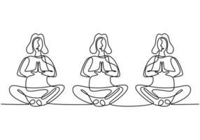 mulher fazendo exercícios de ioga. três meninas sentadas de pernas cruzadas meditando contínuo desenho de desenho de uma linha isolado no fundo branco. mulheres personagem aulas de ioga em grupo. ilustração vetorial.