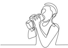 um desenho de linha contínuo, vetor de pessoa bebendo água ou leite. design minimalismo com simplicidade desenhado à mão isolado no fundo branco.