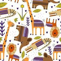 animais fofos da selva com flor, folha de palmeira, plantas sem costura de fundo. animais tropicais. perfeito para decoração, produto infantil, moda, tecido, papel de parede e todos os impressos. ilustração vetorial vetor