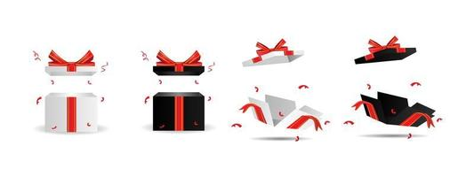 conjunto de design de coleção de caixa de presente realista vetor