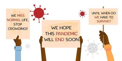 desenho de banner mãos segurando cartaz desenho de coronavírus isolado no fundo branco vetor