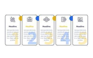 infográficos de negócios com ícones de linha, desenho vetorial