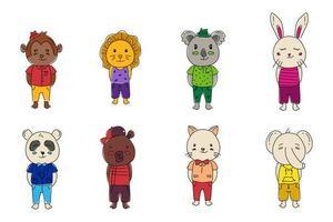 conjunto de desenho de coleção de pequenos animais desenhados à mão vetor