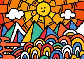 paisagem colorida divertida vetor