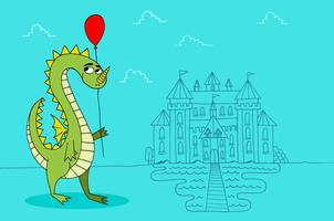 Castelo do balão do dragão vetor