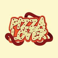 Design de tipografia de pizza amante vetor