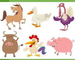 desenhos animados engraçados conjunto de personagens de animais de fazenda