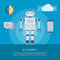 Ilustração vetorial plana do robô AI vetor