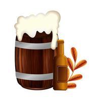 desenho de vetor de barril e garrafa de cerveja isolado