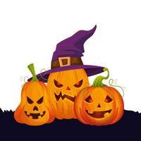 abóboras de halloween com chapéu de bruxa vetor