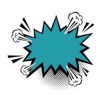 ícone de estilo pop art de explosão de cor azul vetor