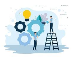 trabalho em equipe e desenho vetorial de empresários vetor