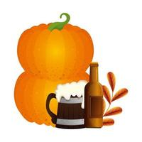 Oktoberfest design de vetor de cerveja e abóbora