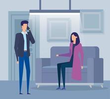 casal de trabalhadores de negócios ligando com o celular na sala de estar vetor