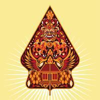 vector colorido gunungan wayang javanês da indonésia