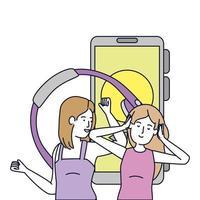 meninas ouvem música com fones de ouvido e smartphone vetor