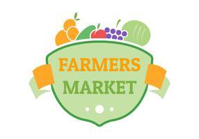 modelo de logotipo do emblema plano do mercado dos agricultores vetor