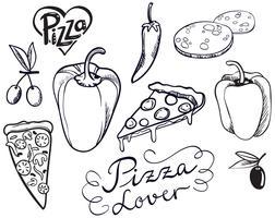 Vetores de amantes de pizza vintage