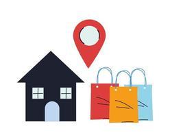 loja com mercadoria e pino de localização vetor