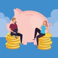 jovem casal com porquinho e moedas vetor