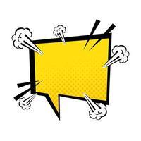 estilo pop art da bolha do discurso de cor amarela vetor