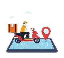homem com máscara em bicicleta entregando um pedido online vetor