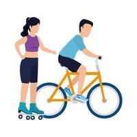 homem e mulher com desenho vetorial de bicicleta e rolos vetor