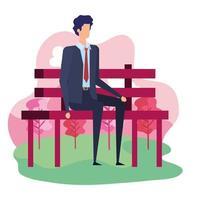 empresário elegante sentado na cadeira do parque vetor