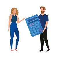 jovem casal com personagens calculadoras vetor