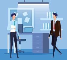 elegantes empresários trabalhadores no escritório vetor