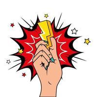 mão com ícone de estilo pop art de raio e explosão