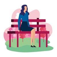 empresária elegante sentada na cadeira do parque vetor