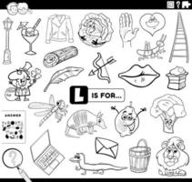 letra l página de livro para colorir tarefa educacional vetor