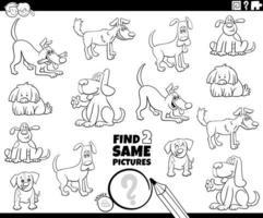encontre dois mesmos cachorros, página de livro para colorir