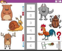 tarefa educacional com espécies de animais grandes e pequenos vetor
