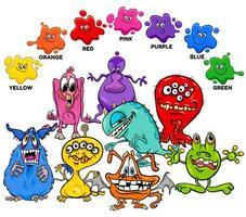 cores básicas com grupo de personagens monstro vetor