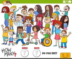 quantos meninos e meninas tarefa educacional vetor