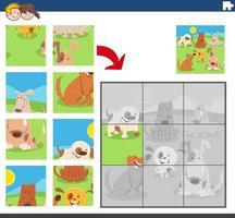 jogo de quebra-cabeça com grupo de cães engraçados vetor